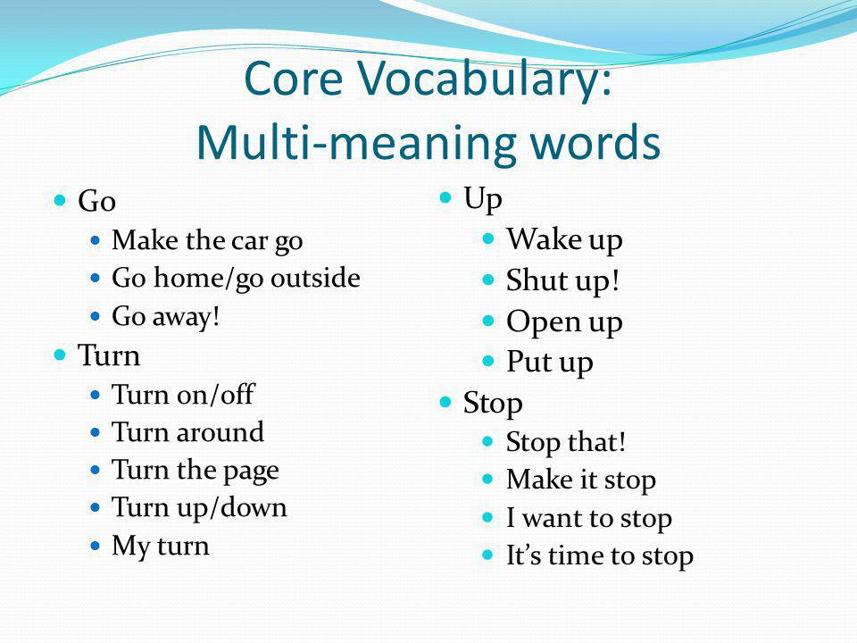 Vocabulary Selection CORE VOCABULARY Small number of words used frequently Does not vary across settings, gender, age, etc.