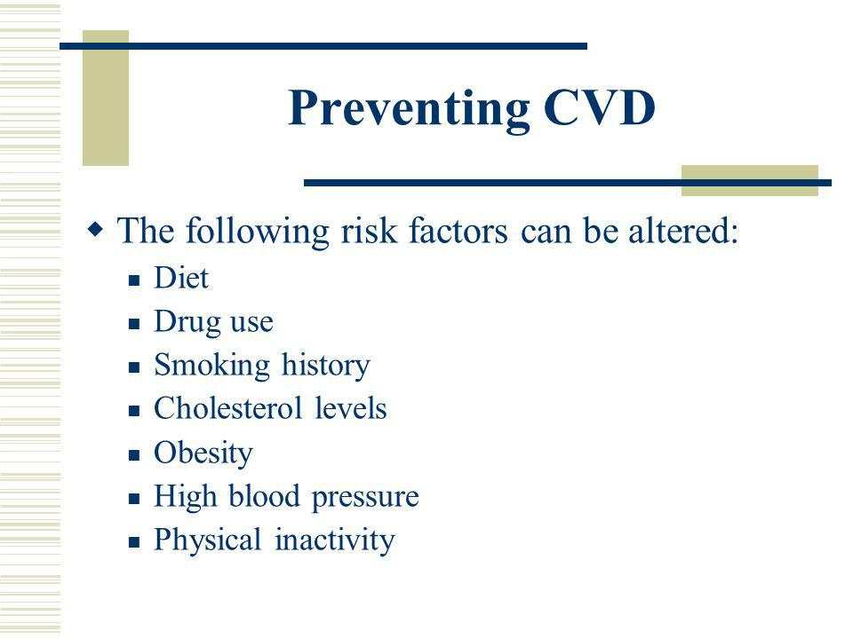 Risk factors for CVD Cigarette Smoking Hypertension Cholesterol Physical Inactivity Obesity Fat distribution Diabetes Triglycerides Stress Age Gender
