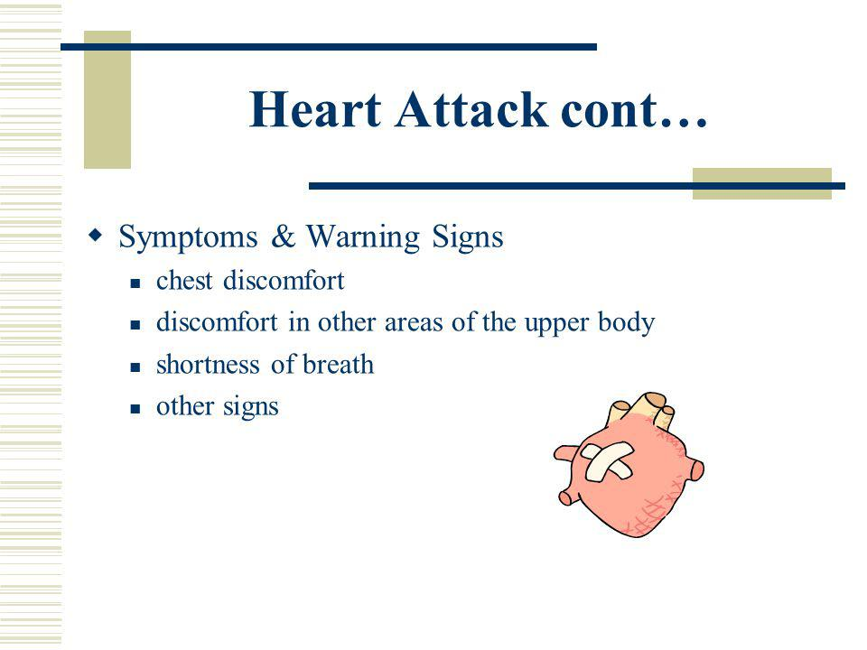 Heart Attack Myocardial infarction Artery to the heart becomes blocked or flow is decreased Can be small or massive Some studies show that exercise in