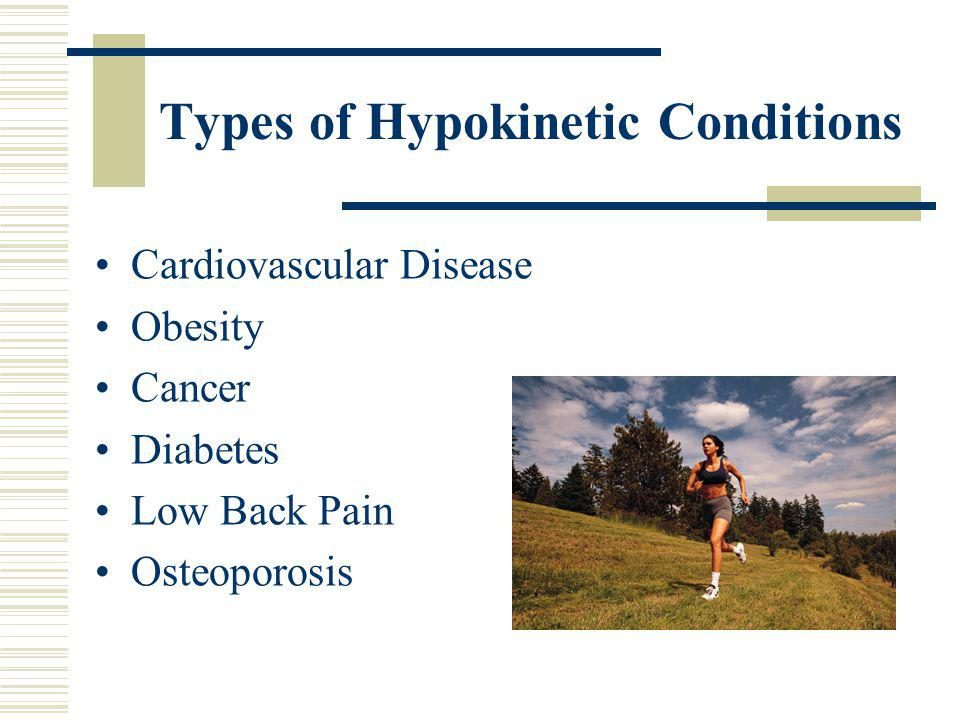 Hypokinetic Conditions Conditions that result from too little activity Increasing weekly caloric expenditure reduces overall health risk Caloric expen