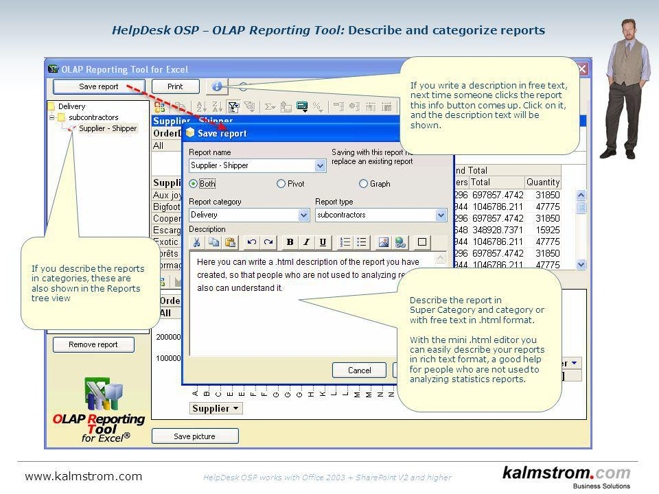 HelpDesk OSP OLAP Reporting Tool: Describe and categorize reports If you describe the reports in categories, these are also shown in the Reports tree view If you write a description in free text, next time someone clicks the report this info button comes up.