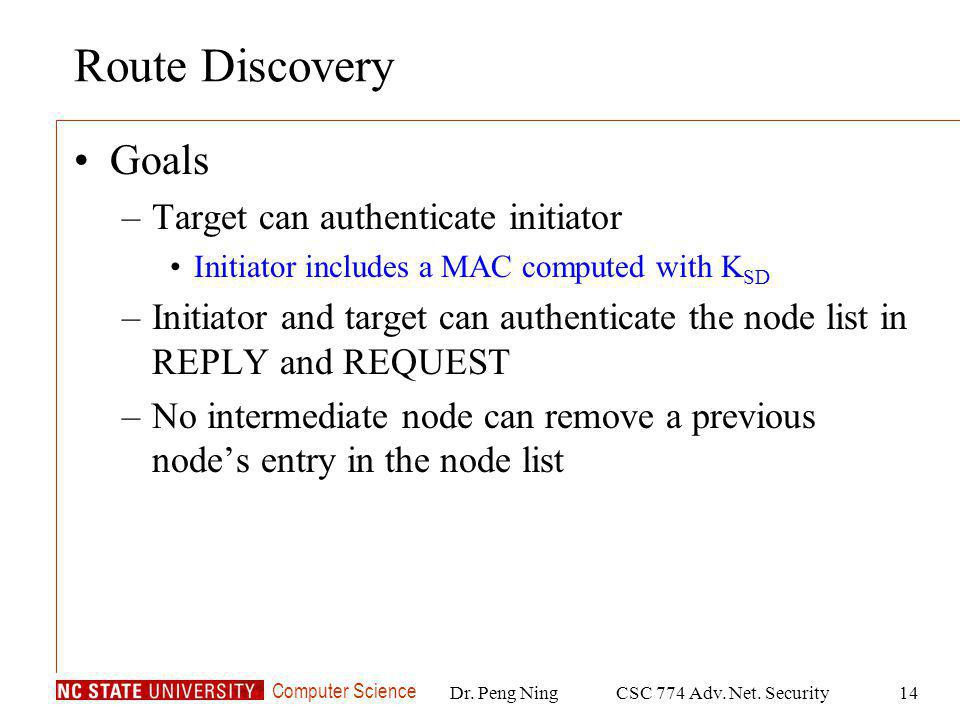 Computer Science Dr. Peng NingCSC 774 Adv. Net. Security14 Route Discovery Goals –Target can authenticate initiator Initiator includes a MAC computed