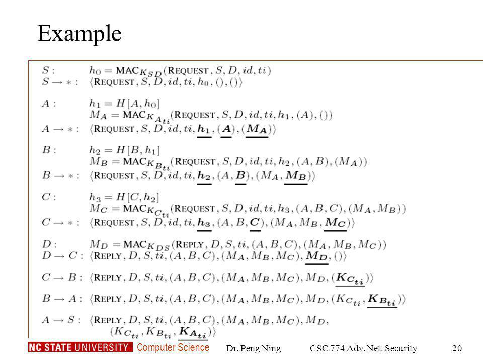 Computer Science Dr. Peng NingCSC 774 Adv. Net. Security20 Example