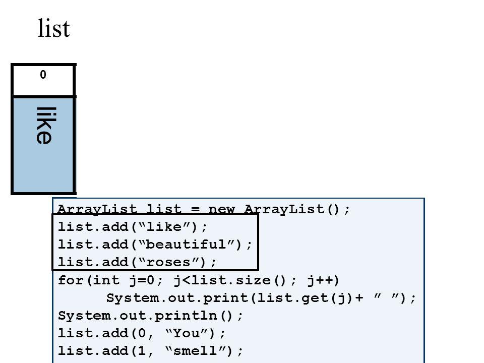 ArrayList list = new ArrayList(); list.add(like); list.add(beautiful); list.add(roses); for(int j=0; j<list.size(); j++) System.out.print(list.get(j)+ ); System.out.println(); list.add(0, You); list.add(1, smell); for(int j=0; j<list.size(); j++) System.out.print(list.get(j)+ ); System.out.println(); list.remove(3); list.set(3, POO!); for(int j=0; j<list.size(); j++) System.out.print(list.get(j)+ ); 0123456 list like beautiful rosesYou