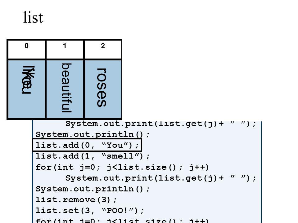 ArrayList list = new ArrayList(); list.add(like); list.add(beautiful); list.add(roses); for(int j=0; j<list.size(); j++) System.out.print(list.get(j)+ ); System.out.println(); list.add(0, You); list.add(1, smell); for(int j=0; j<list.size(); j++) System.out.print(list.get(j)+ ); System.out.println(); list.remove(3); list.set(3, POO!); for(int j=0; j<list.size(); j++) System.out.print(list.get(j)+ ); 0123456 list like beautiful rosesYou smell