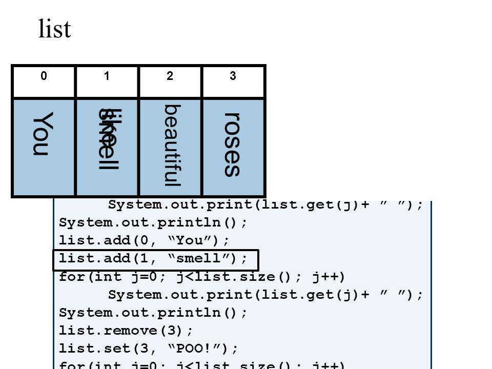 ArrayList Amnesia: Example ArrayList list = new ArrayList(); list.add(new CD( Ima Artist , Ima Sings , 15.50, 3)); list.add(new Circle(5)); list.get(0).getArtist(); ((CD)list.get(0)).getArtist(); ((Circle)list.get(1)).getRadius(); ((Shape)list.get(1)).area(); ((Shape)list.get(0)).area(); Compile-Time Error!GOOD RUN-Time Error!