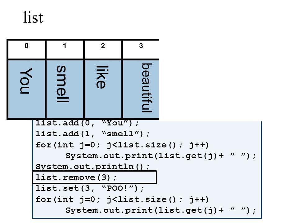 ArrayList list = new ArrayList(); list.add(like); list.add(beautiful); list.add(roses); for(int j=0; j<list.size(); j++) System.out.print(list.get(j)+ ); System.out.println(); list.add(0, You); list.add(1, smell); for(int j=0; j<list.size(); j++) System.out.print(list.get(j)+ ); System.out.println(); list.remove(3); list.set(3, POO!); for(int j=0; j<list.size(); j++) System.out.print(list.get(j)+ ); 0123456 list like beautiful rosesYou smellPOO!