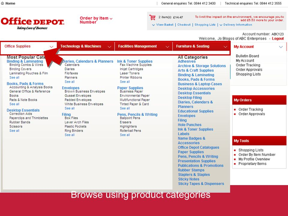 Browse using product categories