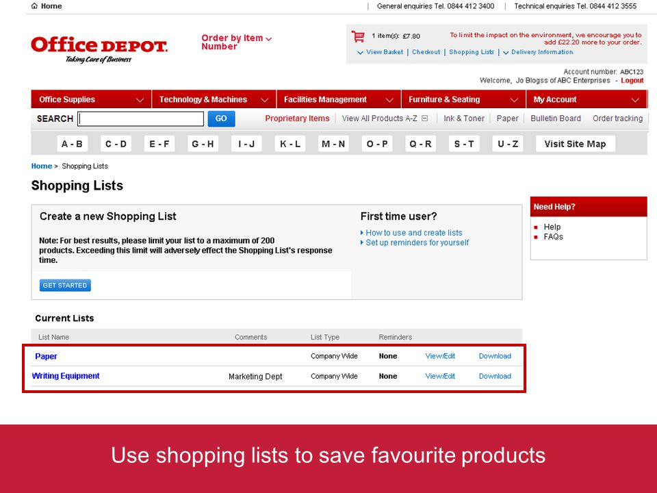 Use shopping lists to save favourite products