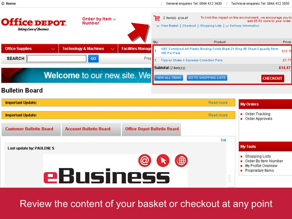 Review the content of your basket or checkout at any point