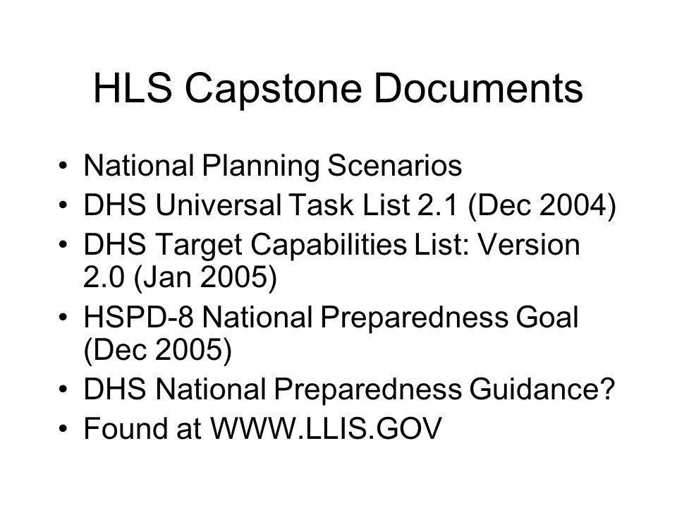 HLS Capstone Documents National Planning Scenarios DHS Universal Task List 2.1 (Dec 2004) DHS Target Capabilities List: Version 2.0 (Jan 2005) HSPD-8 National Preparedness Goal (Dec 2005) DHS National Preparedness Guidance.