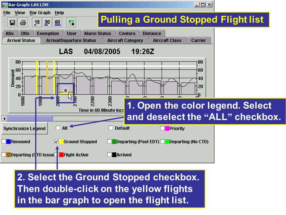 Pulling a Ground Stopped Flight list 2.Select the Ground Stopped checkbox.