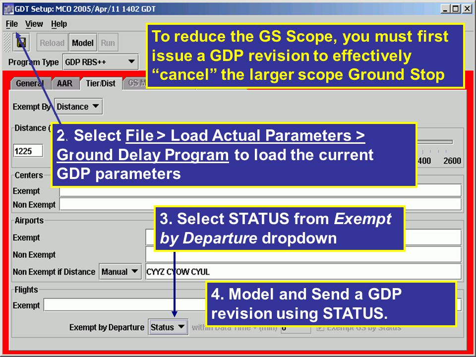 To reduce the GS Scope, you must first issue a GDP revision to effectively cancel the larger scope Ground Stop 2.
