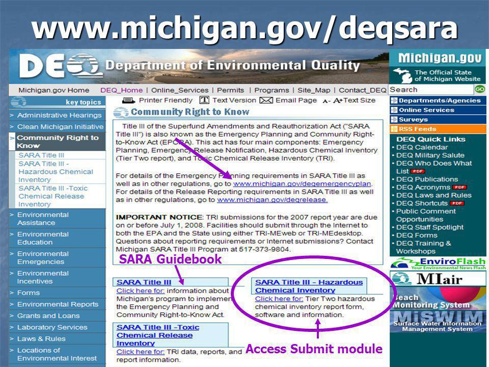 37www.michigan.gov/deqsara SARA Guidebook Access Submit module