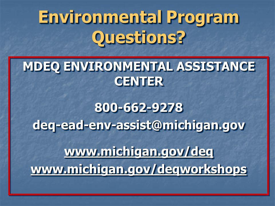 Environmental Program Questions.