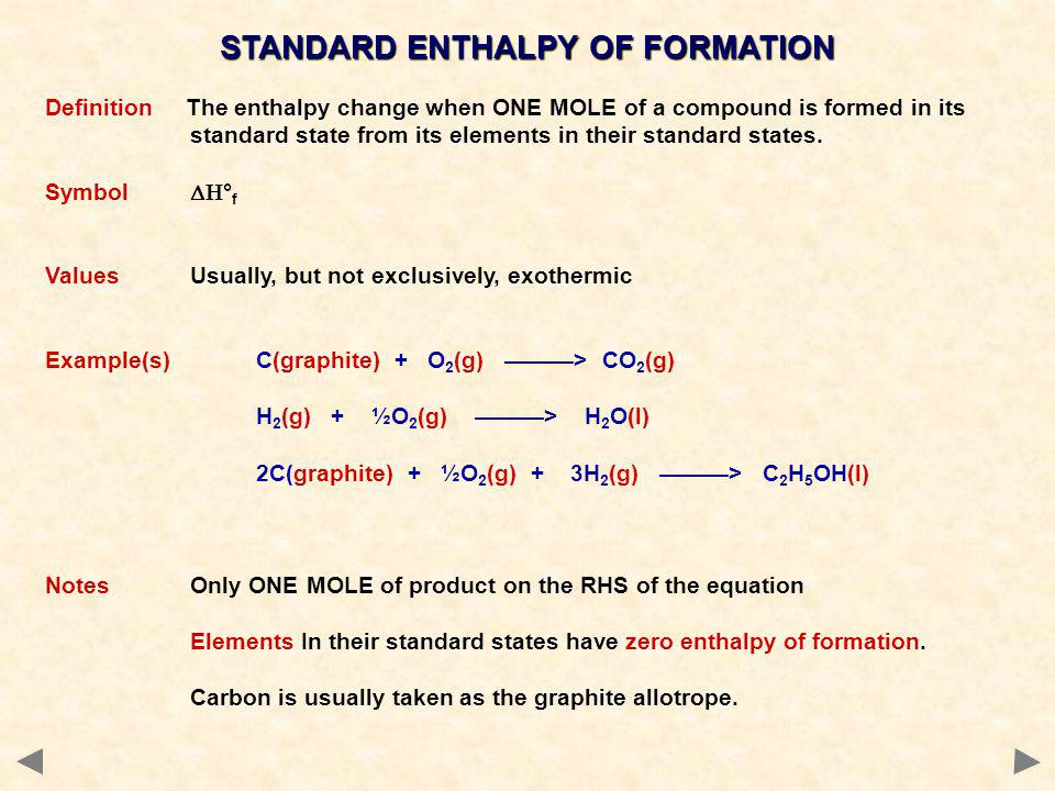 STANDARD ENTHALPY OF FORMATION Definition The enthalpy change when ONE MOLE of a compound is formed in its standard state from its elements in their s