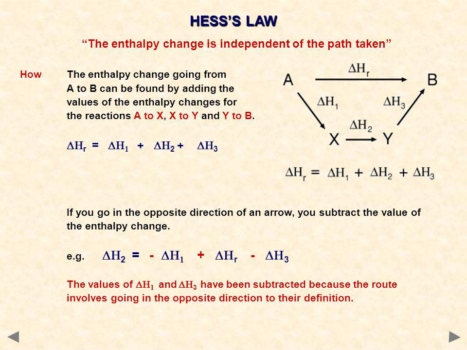 The enthalpy change is independent of the path taken HowThe enthalpy change going from A to B can be found by adding the values of the enthalpy change
