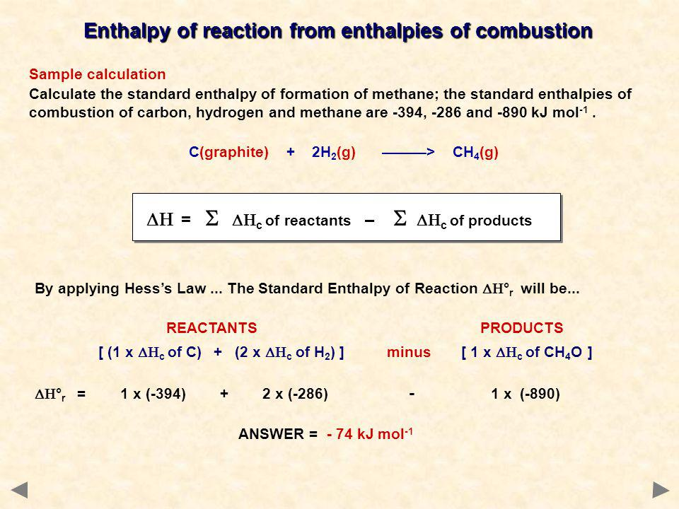 Enthalpy of reaction from enthalpies of combustion Sample calculation Calculate the standard enthalpy of formation of methane; the standard enthalpies