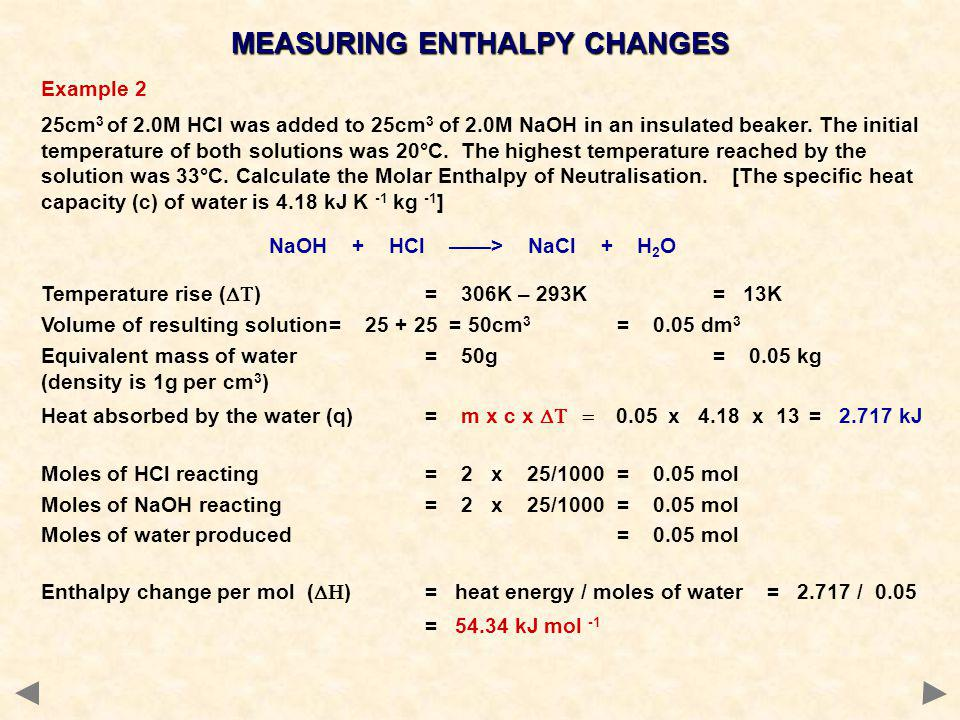 Example 2 25cm 3 of 2.0M HCl was added to 25cm 3 of 2.0M NaOH in an insulated beaker. The initial temperature of both solutions was 20°C. The highest