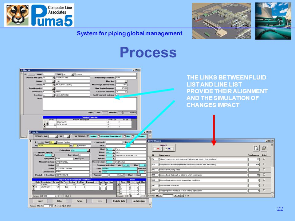 System for piping global management 22 Process THE LINKS BETWEEN FLUID LIST AND LINE LIST PROVIDE THEIR ALIGNMENT AND THE SIMULATION OF CHANGES IMPACT