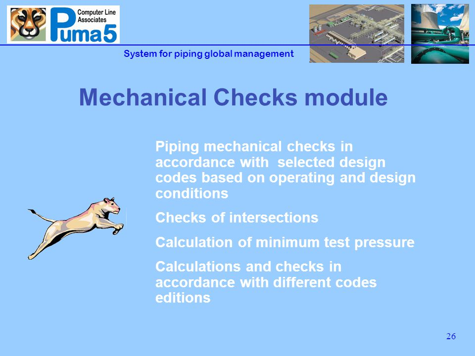 System for piping global management 27 Mechanical Checks functions Mechanical checks of piping components in accordance with the most common used std: ASME B31.1, B31.3, B31.4, B31.8, ASME VIII Control of rating curves and automatic association to piping classes Calculation of test pressure (hydraulic or pneumatic) Verification for internal and external (vacuum) pressure performed on both Piping Classes and Line List Reinforcing pads verified for the max conditions of piping class and for operating conditions from Line List
