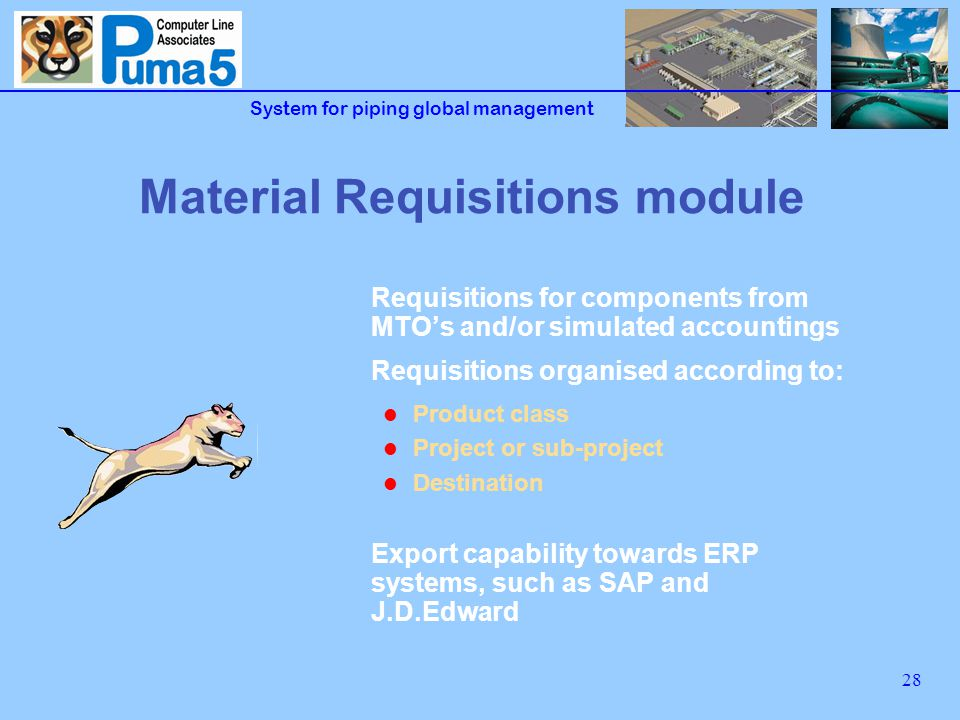 System for piping global management 28 Material Requisitions module Requisitions for components from MTOs and/or simulated accountings Requisitions organised according to: Product class Project or sub-project Destination Export capability towards ERP systems, such as SAP and J.D.Edward