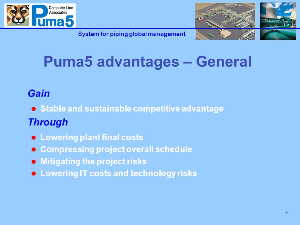 System for piping global management 4 Puma5 advantages – What for.