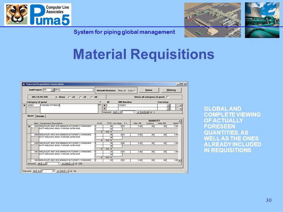 System for piping global management 30 Material Requisitions GLOBAL AND COMPLETE VIEWING OF ACTUALLY FORESEEN QUANTITIES, AS WELL AS THE ONES ALREADY INCLUDED IN REQUISITIONS