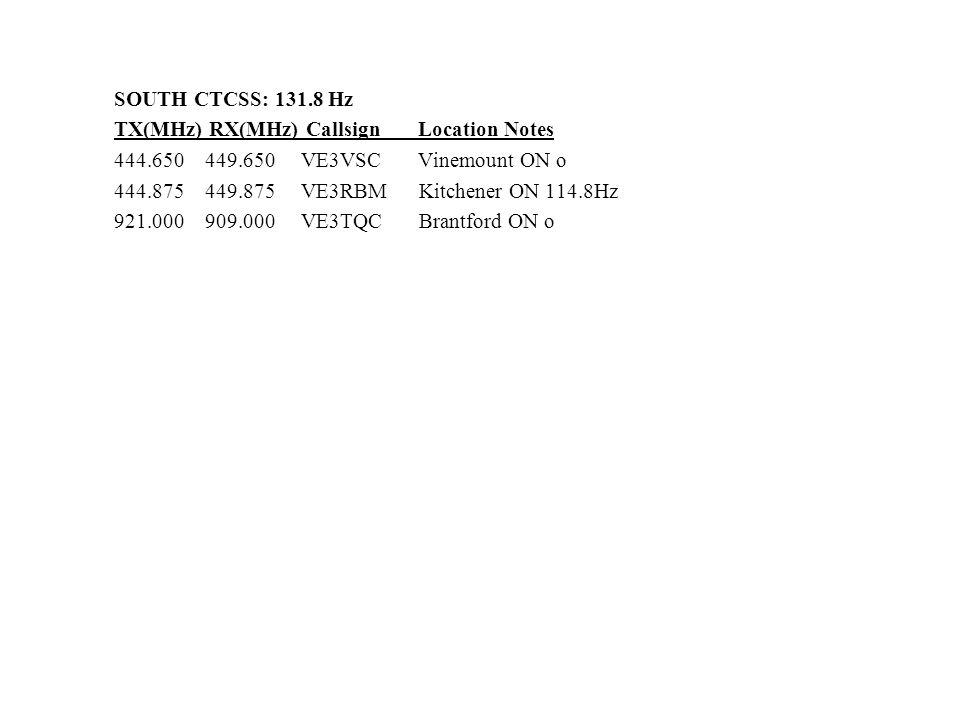 SOUTH CTCSS: 131.8 Hz TX(MHz) RX(MHz) Callsign Location Notes 444.650 449.650 VE3VSC Vinemount ON o 444.875 449.875 VE3RBM Kitchener ON 114.8Hz 921.00