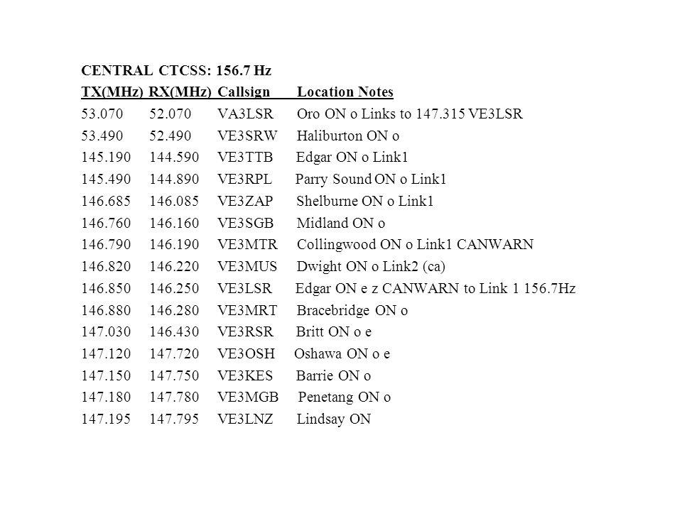 CENTRAL CTCSS: 156.7 Hz TX(MHz) RX(MHz) Callsign Location Notes 53.070 52.070 VA3LSR Oro ON o Links to 147.315 VE3LSR 53.490 52.490 VE3SRW Haliburton