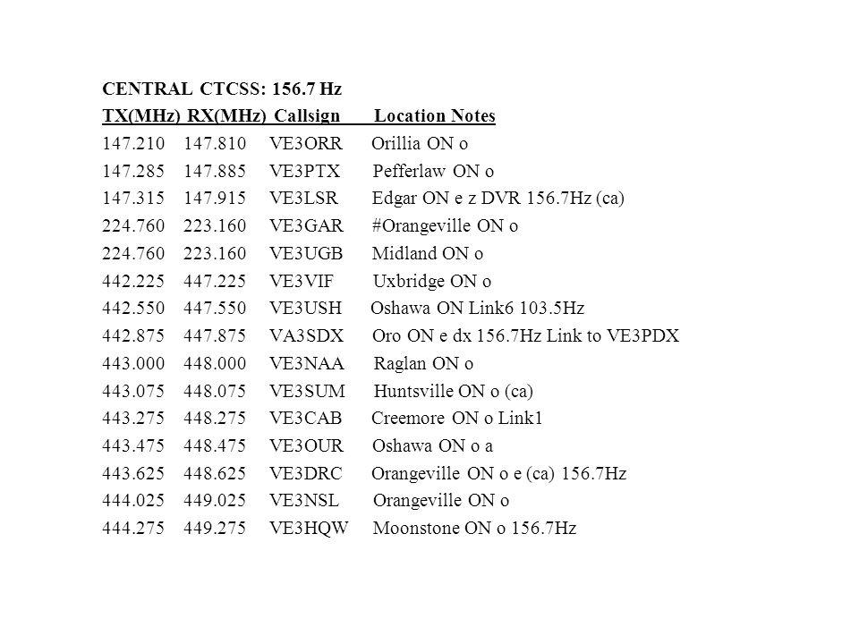 CENTRAL CTCSS: 156.7 Hz TX(MHz) RX(MHz) Callsign Location Notes 147.210 147.810 VE3ORR Orillia ON o 147.285 147.885 VE3PTX Pefferlaw ON o 147.315 147.