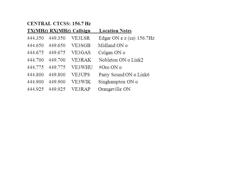 CENTRAL CTCSS: 156.7 Hz TX(MHz) RX(MHz) Callsign Location Notes 444.350 449.350 VE3LSR Edgar ON e z (ca) 156.7Hz 444.650 449.650 VE3SGB Midland ON o 4