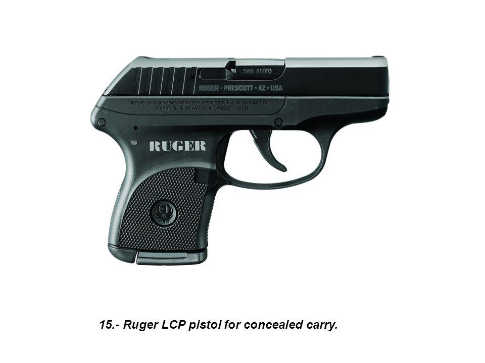 15.- Ruger LCP pistol for concealed carry.