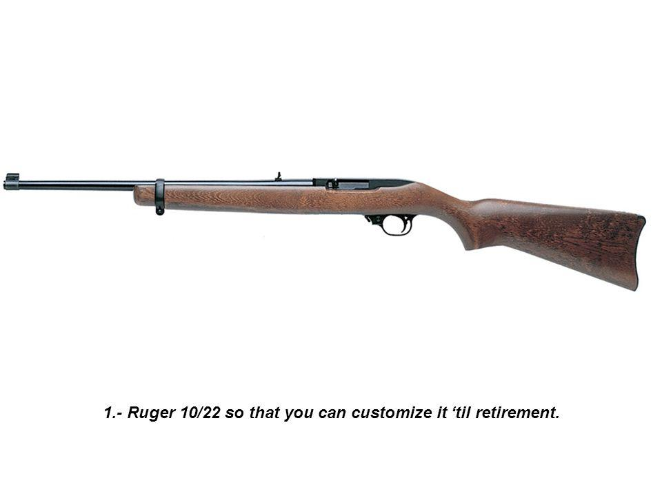 1.- Ruger 10/22 so that you can customize it til retirement.