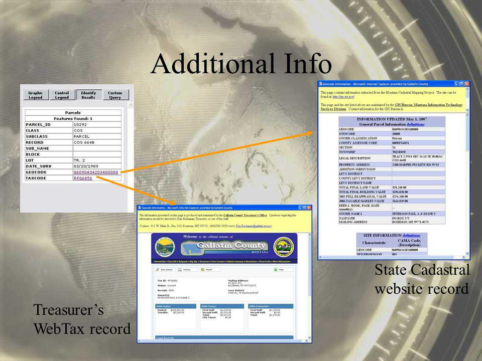 Additional Info State Cadastral website record Treasurers WebTax record