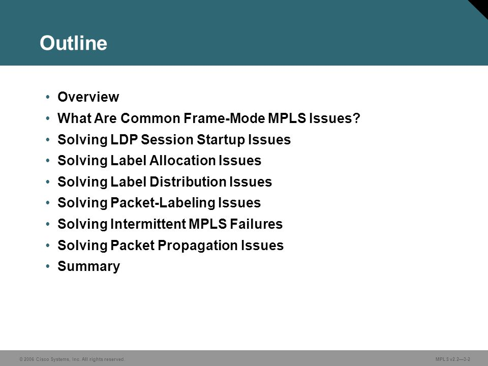 © 2006 Cisco Systems, Inc.All rights reserved. MPLS v2.23-3 The LDP session does not start.