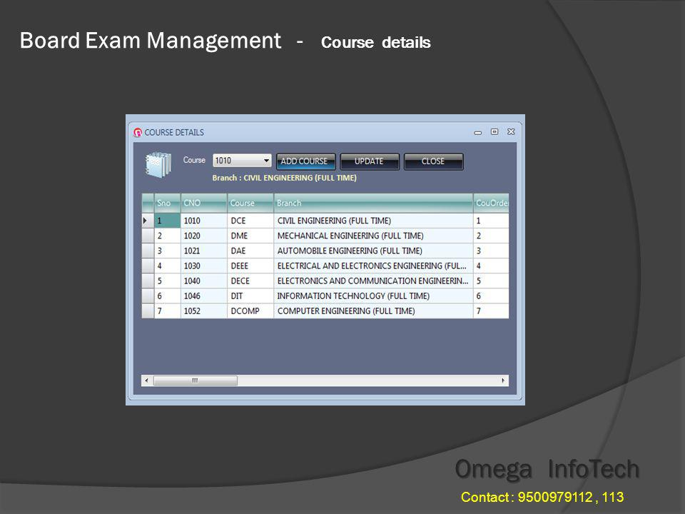 Board Exam Management - Edit Nominal Omega InfoTech Contact : 9500979112, 113