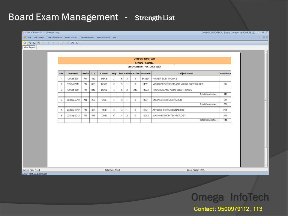 Board Exam Management for Polytechnics After Finishing all the data entries like nominal roll, subject details, time table details.