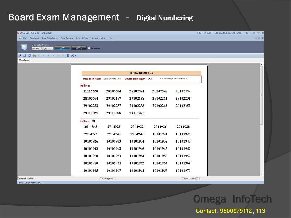 Board Exam Management - Hall Chart Omega InfoTech Contact : 9500979112, 113