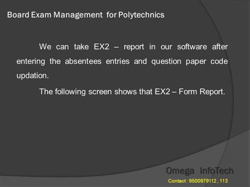 Board Exam Management - Day war statement Omega InfoTech Contact : 9500979112, 113