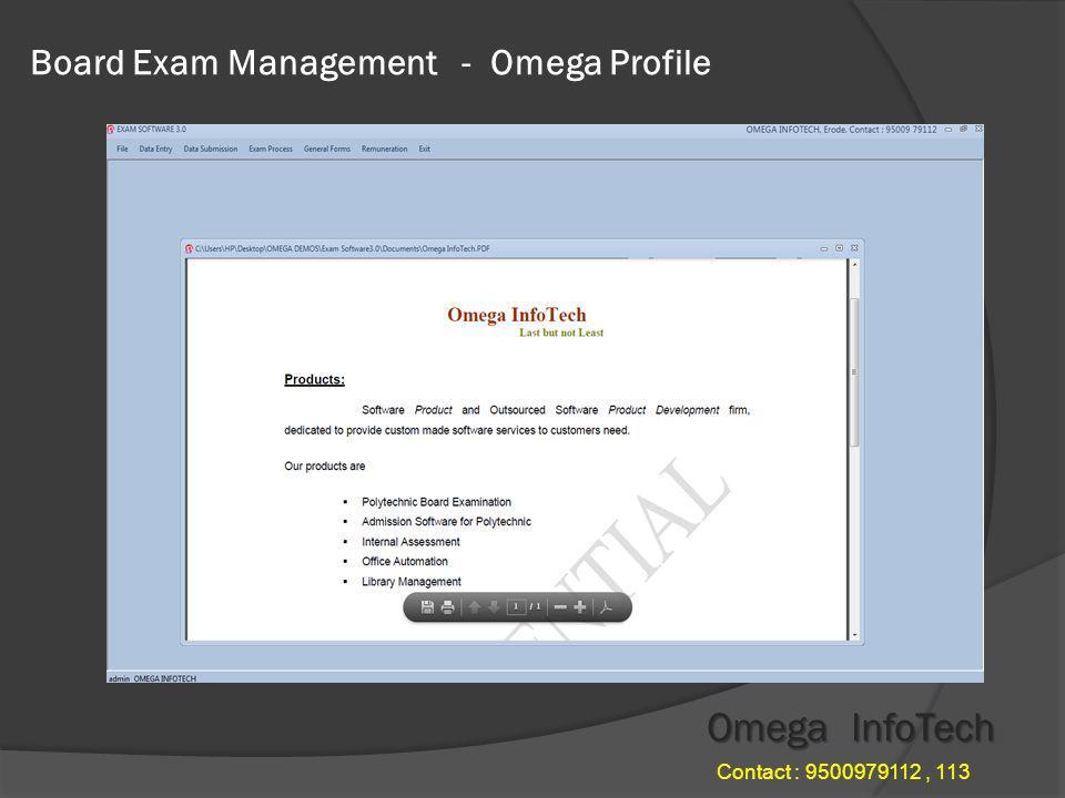 Board Exam Management - File Menu Omega InfoTech Contact : 9500979112, 113