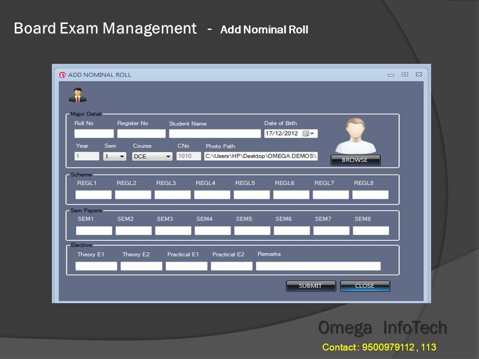 Board Exam Management - Exam Setting Omega InfoTech Contact : 9500979112, 113