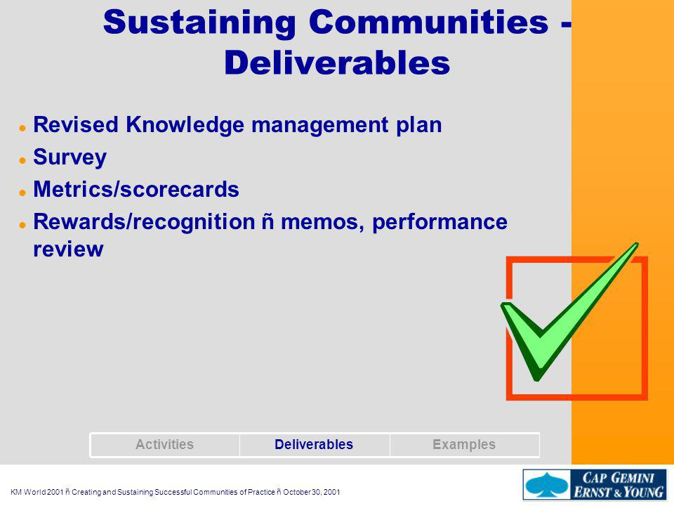 KM World 2001 ñ Creating and Sustaining Successful Communities of Practice ñ October 30, 2001 Sustaining Communities - Examples l Thank you message to those who contributed to the communitys knowledgebase l Survey mailed to all community members asking for their feedback l Quarterly review of knowledge plan with sponsor l Identify improvement opportunities using metrics on community usage of knowledge bases ExamplesDeliverablesActivities