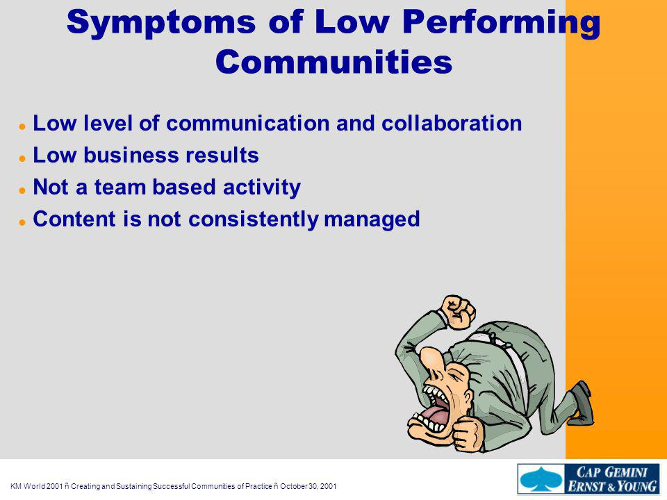 KM World 2001 ñ Creating and Sustaining Successful Communities of Practice ñ October 30, 2001 Symptoms of Low Performing Communities l Low level of communication and collaboration l Low business results l Not a team based activity l Content is not consistently managed