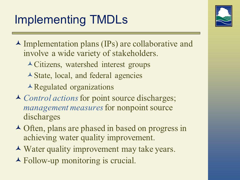 Implementing TMDLs Implementation plans (IPs) are collaborative and involve a wide variety of stakeholders. Citizens, watershed interest groups State,