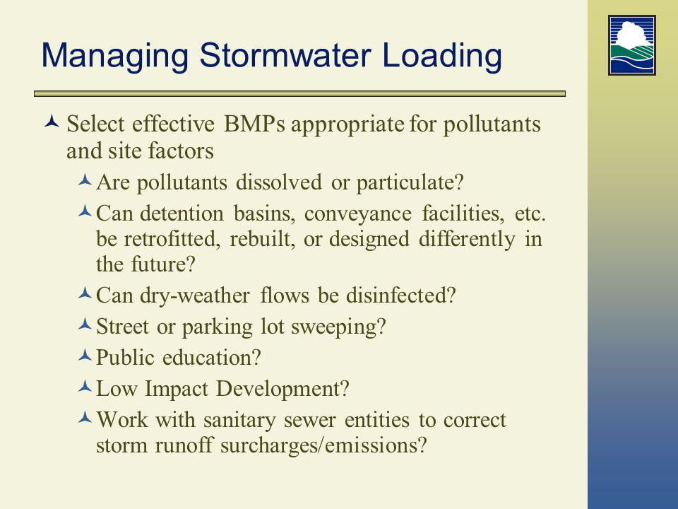 Managing Stormwater Loading Select effective BMPs appropriate for pollutants and site factors Are pollutants dissolved or particulate? Can detention b