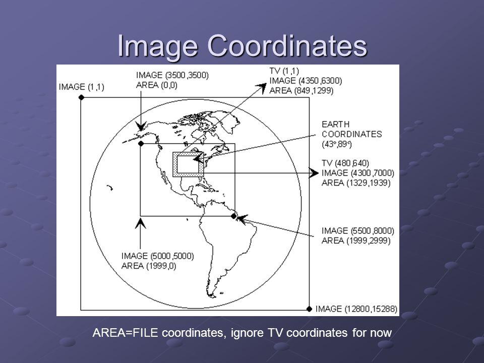 Image Coordinates AREA=FILE coordinates, ignore TV coordinates for now