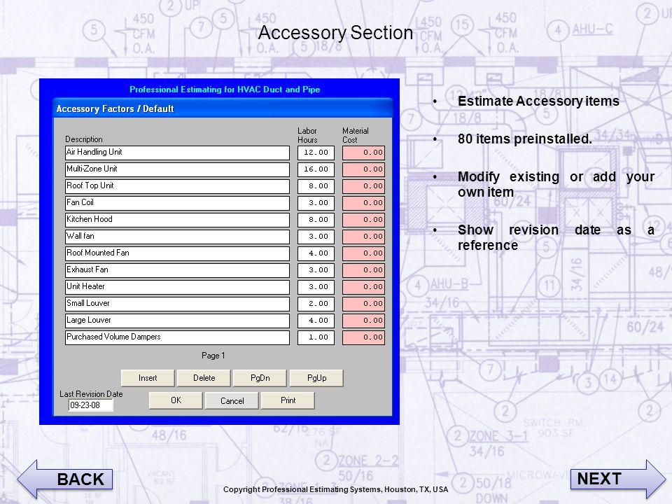 Accessory Section Estimate Accessory items 80 items preinstalled. Modify existing or add your own item Show revision date as a reference BACK NEXT Cop
