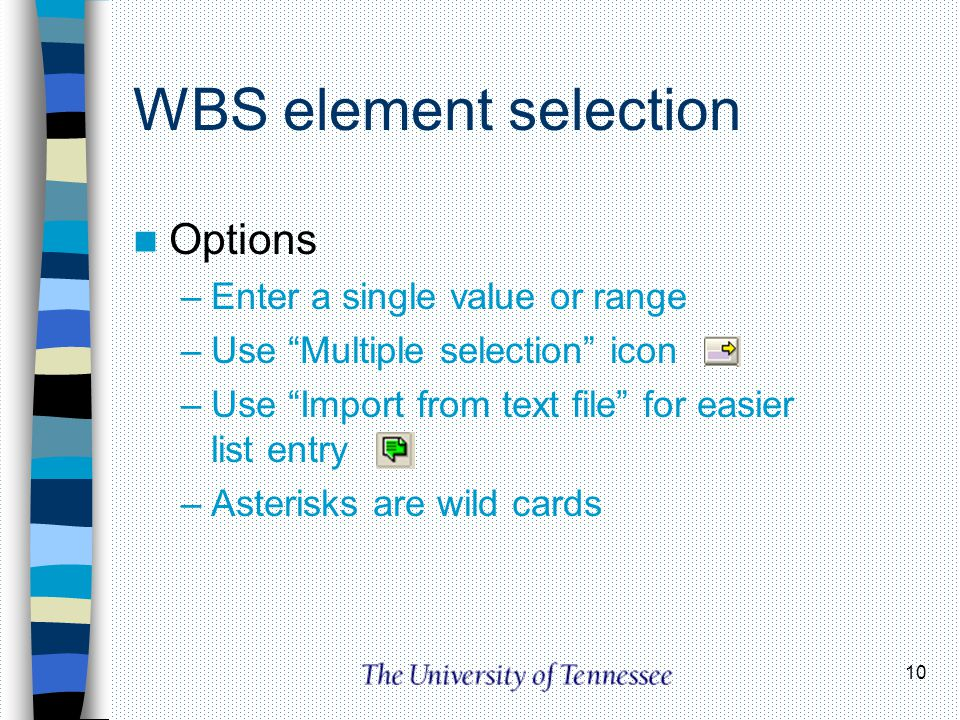 10 WBS element selection Options –Enter a single value or range –Use Multiple selection icon –Use Import from text file for easier list entry –Asteris