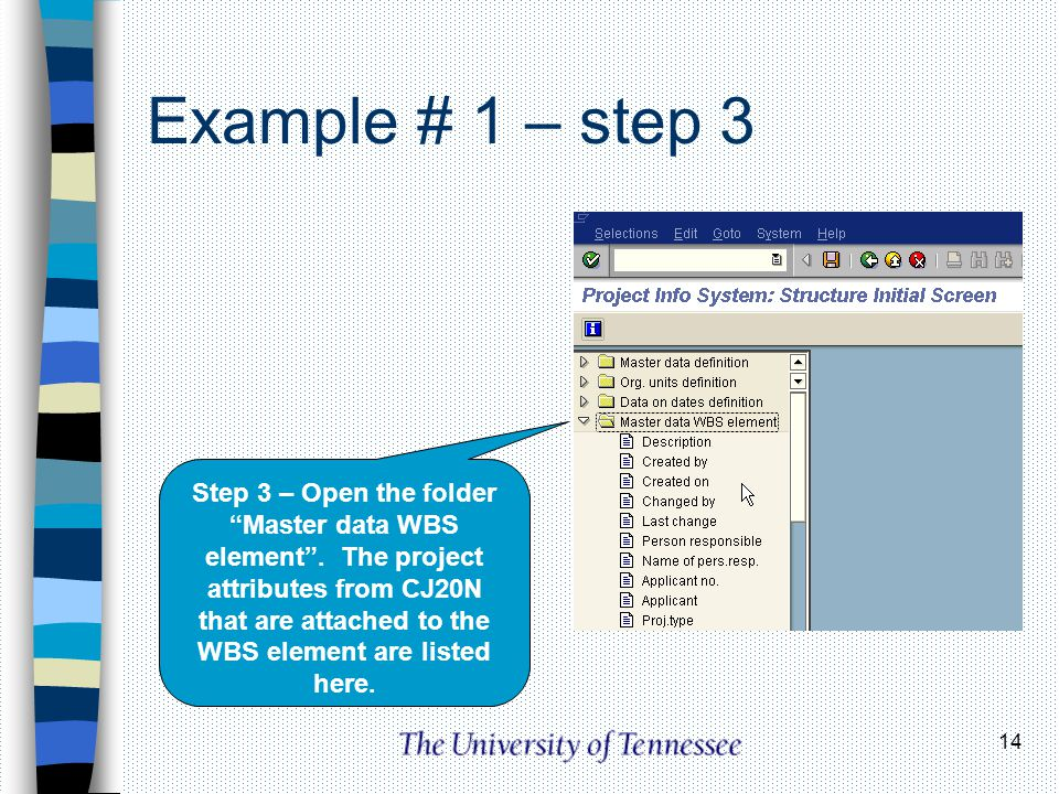 14 Example # 1 – step 3 Step 3 – Open the folder Master data WBS element. The project attributes from CJ20N that are attached to the WBS element are l